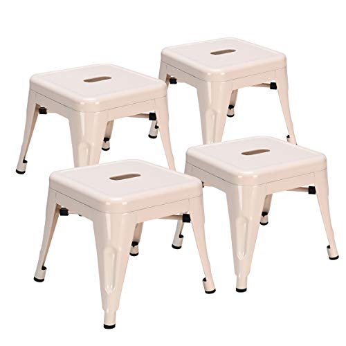 COSTWAY Kids Metal Stools Steel Barstools Vintage Antique Style Counter Bar Stool (Milky White, Set of 4)