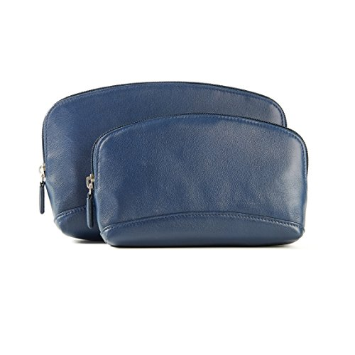 Cosmetic Bag Set - Full Grain Leather - Navy (blue) by Leatherology