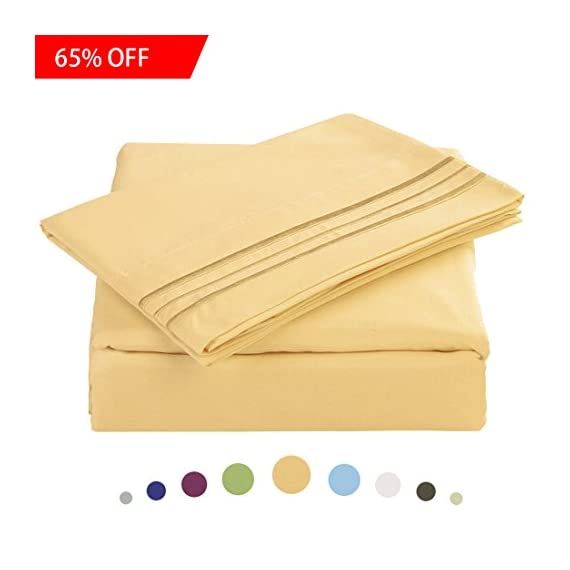 "Maevis Bed Sheet Set-1800 Double Brushed Microfiber Bedding - Deep Pocket- Wrinkle, Fade, Stain Resistant - Hypoallergenic - 4 Piece (Gold, Cal King) - * ELABORATELY SELECTED MATERIAL: Ultra durable and high density 300TC 105gsm microfiber with the newest spinning techniques that makes the sheet stain resistant, warm, breathable and hypoallergenic. Also softer and silkier at the same time. * California King Size Luxury 4 piece Bed Sheets Set - 1 flat sheet 108""x102"", 1 fitted sheet 72""x84""x14"", 2 pillowcases 20""x40"".Fitted sheet has 14 inch deep pocket with elastic all around (not just the corners, like other sheets). Fits mattresses up to 14"". * HIGHEST QUALITY & EXQUISITE DESIGN-Made of ultra high quality and soft brushed microfiber and elegant in workmanship, you know IT LASTS! The exquisite design applies to any decoration style and the fabulous selection of colors and will make your bedroom look like it belongs in a magazine! - sheet-sets, bedroom-sheets-comforters, bedroom - 41EZD2yVKGL. SS570  -"