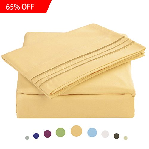 Bed Sheet Set - Microfiber Bedding Deep Pockets sheets 4 pc by Maevis (Gold,Full )
