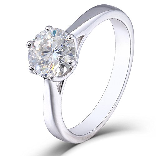 1 Carat,6.5MM Moissanite Engagement Ring,Platinum Plated Sterling Silver Excellent Cut IJ Color for women