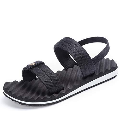 Slip Sandali Toe tempo il Sandali Comodi Sport libero Open per Sport Regolabili estivi Sandali adatti Romani Men's Black Xiaoqin HAxPYY