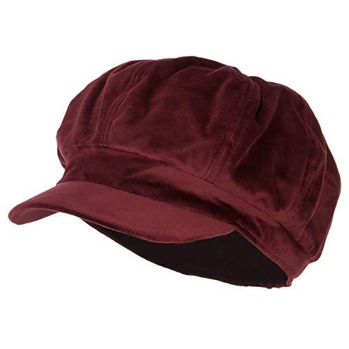 - Classic Polyester Velvet Newsboy Hat - Burgundy OSFM
