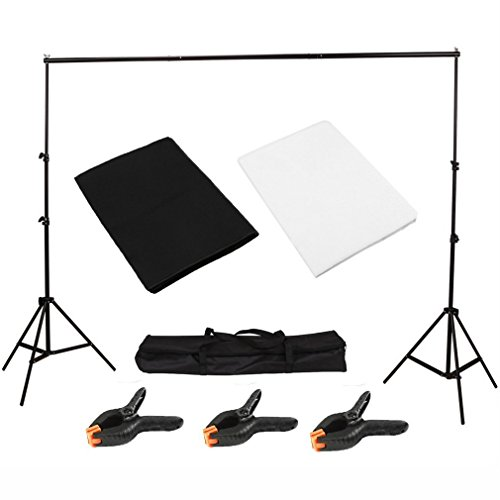 Homgrace Stand Photo Crossbar Studio,Studio Photo Studio Black White Background Backdrop Screen Stand Kit Easy to Assemble Dismantle for Different Location Shoots with Carry Bag, Black & White by Homgrace