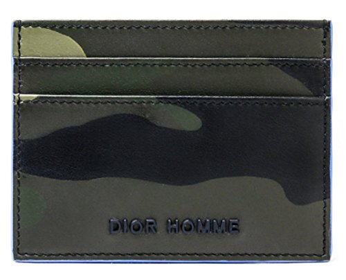 Wiberlux Dior Homme Men's Metal Logo Camouflage Real Leather Card Wallet One Size - Logos Dior
