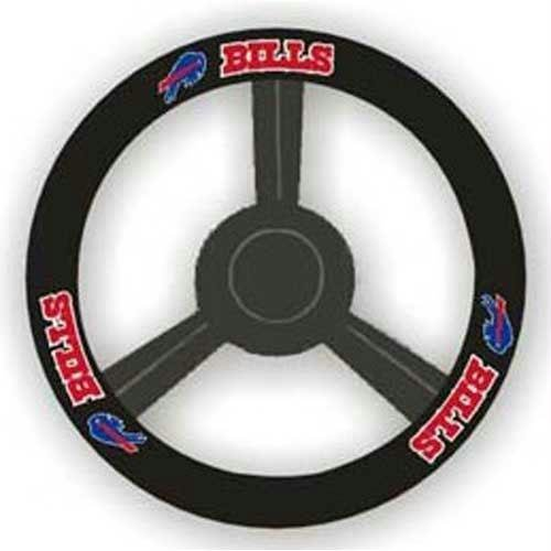 NFL Buffalo Bills Leather Steering Wheel Cover, Black, One (Buffalo Bills Nfl Leather)