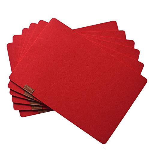 Aonewoe Felt Table Mats Absorbent Machine Washable Placemats for Dining Heat Resistant Table Set of 6(Red)