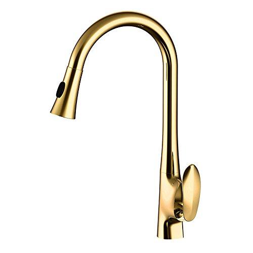 ETERNAL QUALITY Badezimmer Waschbecken Wasserhahn Messing Hahn Waschraum Mischer Mischbatterie Tippen Sie auf Küche Wasserhahn voll Kupfer heiß und kalt gezogen - unten S
