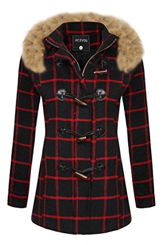 ACEVOG Women's Fleece Jacket Duffle Style Toggle Hoodie Pea Coat with Fur Hooded,Red Black,Medium -