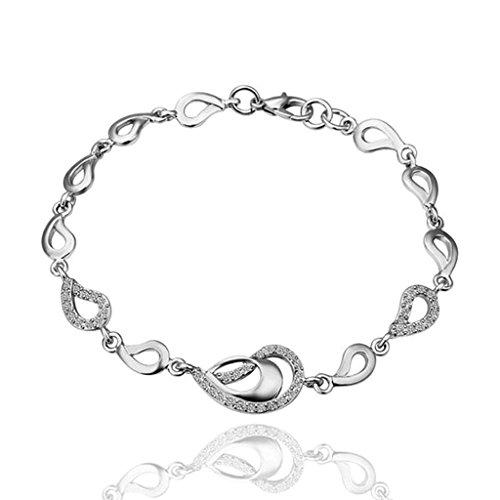 Daesar Gold Plated Bracelets Womens Bracelet White Bracelets Link Bracelets Heart Bangle Length:8IN
