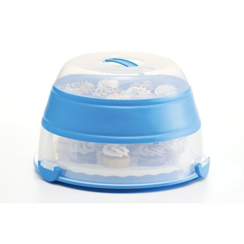 Prepworks by Progressive Collapsible Cupcake and Cake Carrier, 24 Cupcakes, 2 Layer, Easy to Transport Muffins, Cookies or Dessert to Parties - Blue - In Amazon Frustration Free]()