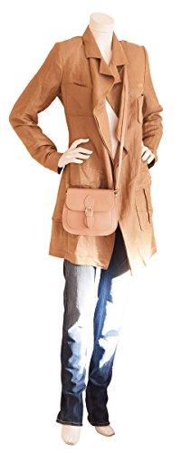 Bolso de bandolera italiano de cuero liso brillante (21 x 16 x 6 cm) Brau (Dark Camel)