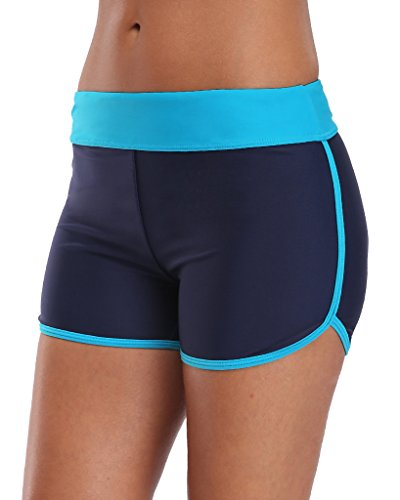 Sociala Womens Swimming Bottoms Bikini Briefs Boyleg Tankini Swim Shorts L Navy
