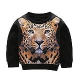 Kolylong 1-5 Age Baby Kids Sweatshirt Set Clothes Long Sleeve Tiger Print Tracksuit Blouse Tops (3T, Black)