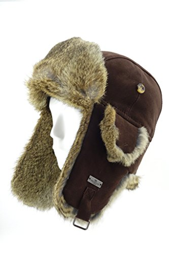 FUR WINTER Lamb Suede Leather Rabbit Fur Aviator Bomber Trapper Hat BRN XL