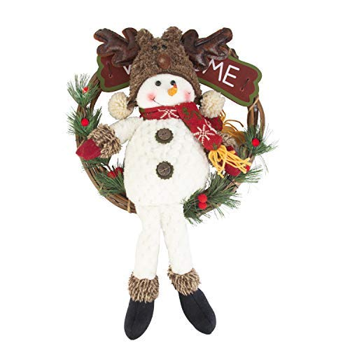 - KI Store Christmas Wreath 12-Inch Snowman Oversize Christmas Tree Ornaments Grapevine Door Wreath for Windows Kids Room Hanging Christmas Decor