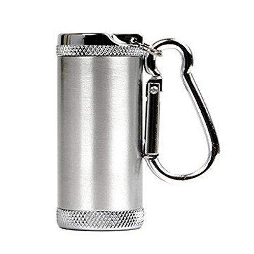Honoro Metal Portable Ashtray,Outdoor Cigarettes Ashtray with Lid,Keychain,Cylinder Silver