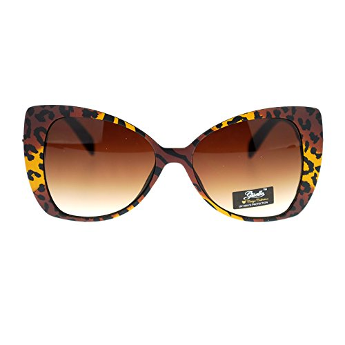 Giselle Color Leopard Animal Print Cat Eye Butterfly Sunglasses - Eye Cat Print Sunglasses Leopard
