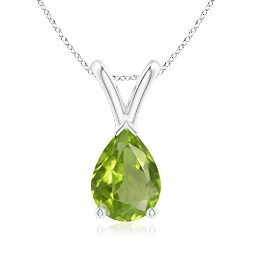 - V-Bale Pear-Shaped Peridot Solitaire Pendant in Silver (7x5mm Peridot)