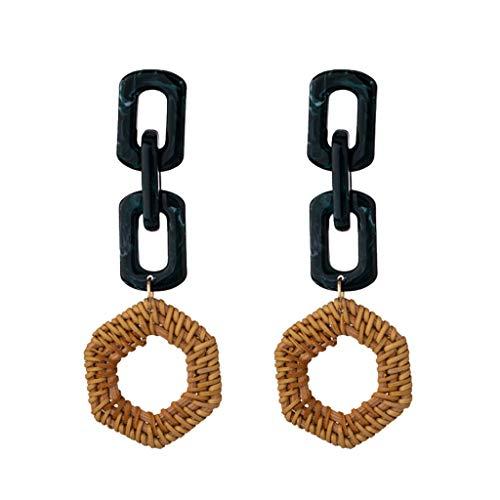 - Gleamfut Women's Acrylic Geometric Weaving Rattan Stud Earring Multilayer Nesting Ladies Jewelry