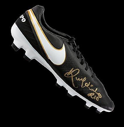 Ronaldinho Autographed Signed Black Nike Tiempo Boot - Certified ... a1dbb87d31d00