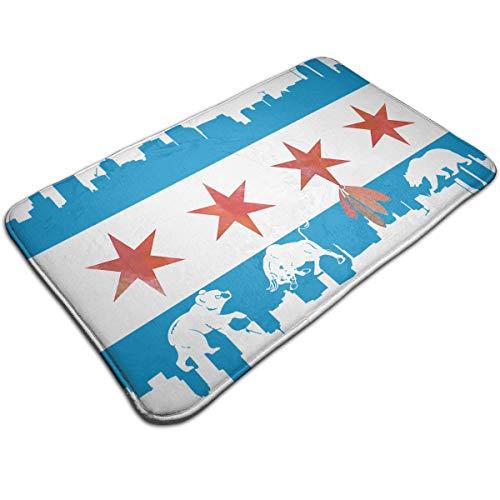 Chicago Flag Skyline Bear Bull Doormat Entrance Mat Floor Mat Rug Indoor/Outdoor/Front Door/Bathroom Mats Rubber Non Slip 20 X 31.5 Inch Welcome Doormat