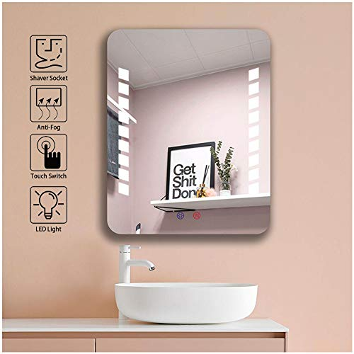 FYYSL 500x400mm Bathroom LED Mirror with Light, Touch Control Sensor,Demister and Wall -