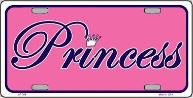 Smart Blonde Pink Princess Tiara Novelty Metal License Plate LP-049