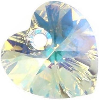 Colgante de cristal Swarovski con forma de corazón AB 28 mm, 16 unidades