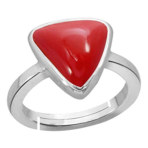 Red Coral Ring 10.2 Ct. Or 11.25 Ratti(Moonga/Munga Stone Adjustable Silver Ring for Men Moonga by GEMS HUB (Red)
