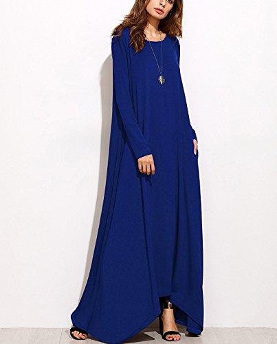 Women's Blue Royal Long Amstt Maxi Long Casual Dresses Pockets Sleeve Loose Party pwdFxP