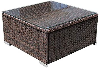 DIMAR garden Outdoor Coffee Table Wicker Patio Furniture Conversation Set Lawn Garden Tea Table Rattan Patio Coffee Table