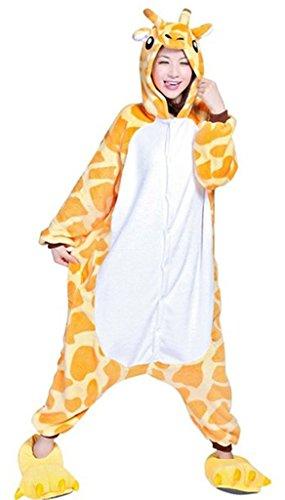 Outdoor Top CALDO INVERNO flanella Onesie Pigiama Adulto Unisex PEZZO UNICO Pikachu Pajama - Giraffa, Small