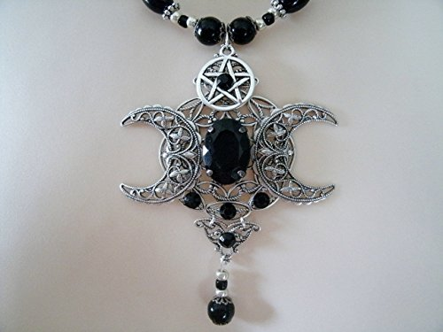 Pentagram Magic (Phases Of The Moon Pentacle Necklace, handmade jewelry, wiccan, pagan, wicca, witch, witchcraft, goddess, pentagram, magic, gothic)