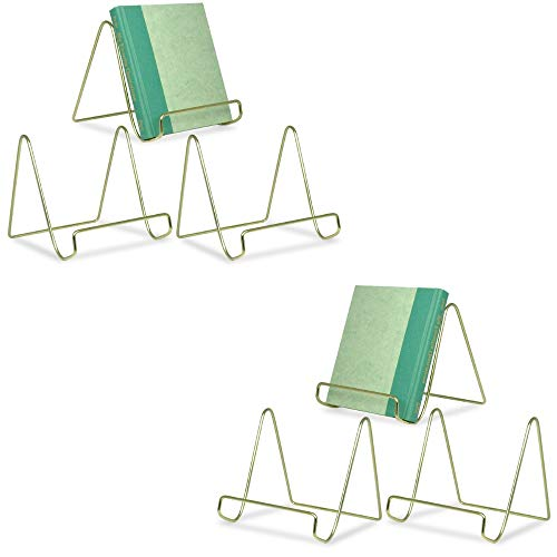 BANBERRY DESIGNS Wire Easel Display Stand Plate Holders – Smooth Brass Metal – 6 H – Set of 6