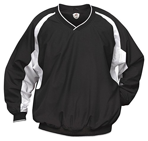 Badger Sportswear Athletic Performance V-Neck Windshirt, black/white, X-Large (Adult V-neck Windshirt)