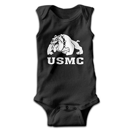 Marine Corps Bulldog USMC Logo Baby's Comfort Bodysuit Sleeveless Onesie Layette Black Black Ink Usmc Bulldog