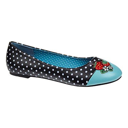 """Zapatos tipo bailarinas """"Isabella"""" de Banned (Negro/Azul) Negro/Azul"""