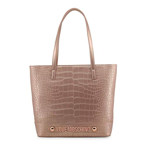 Big shopping bag for woman Love Moschino in croco leather pink metallic copper. Shoulder handles, inside pockets and zip closure.
