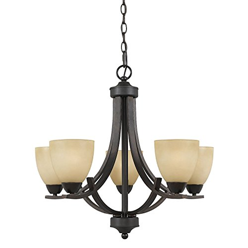 Lumenno Lighting 8000-03-05 Chandelier with Tea Stained Glass Shades, Bronze Finish