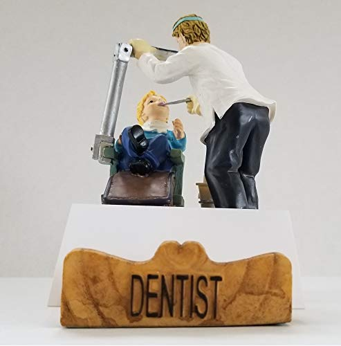 Dentist Business Cardholder Figurine. Gift and Collectible - White Male. by RoCo2 Enterprises