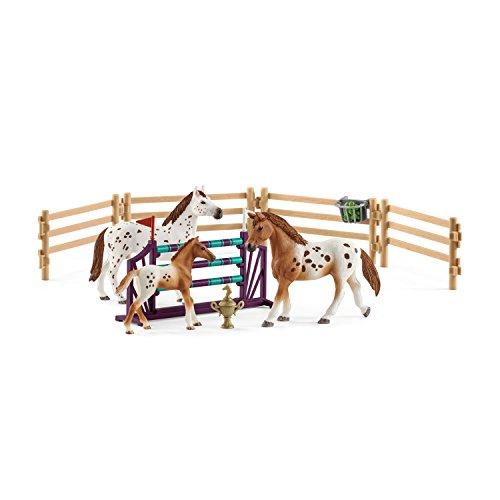 Club Training - Schleich Horse Club Lisa's Tournament Training Figurine Toy Play Set, Multicolor