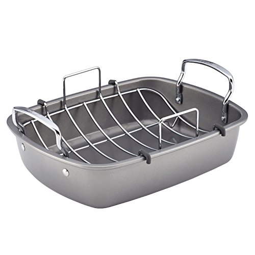 Circulon Nonstick Bakeware 17-Inch by 13-Inch Roaster with U-Rack ()