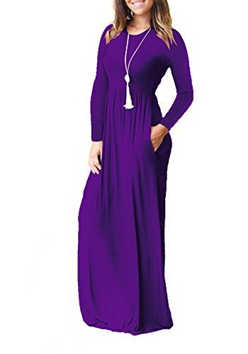 avec Femme Robes Poches Robe Aswinfon Longue Fluide Manche Longue Violet Maxi Casual RqYxAw7