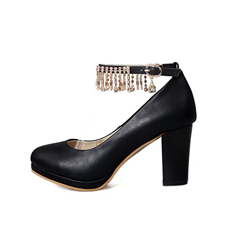 Combinación de de Materiales mujer redonda sólida hebilla Bombas Kitten Negro cerrada Heels VogueZone009 Zapatos Punta 8xXwEqIgq