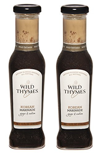 SPICY KOREAN BBQ MARINADE & SAUCE by Wild Thymes Farm, 10oz (Pack of 2) (Paul's Fruit Market Gift Basket)