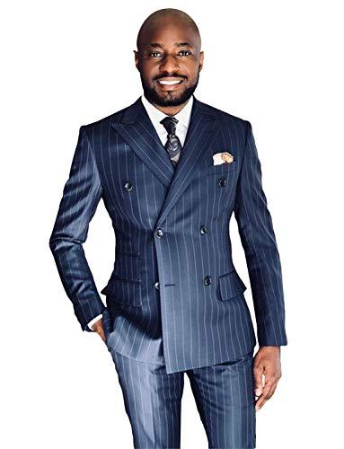 P&G Men's Stripe Two Pieces Peak Lapel Suit DoubleBreasted Classic-Fit Suit Navy Blue ()