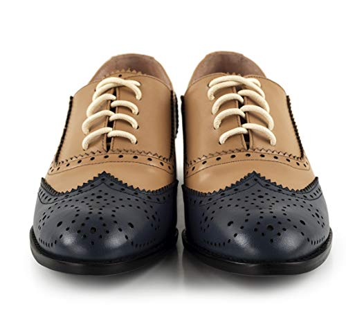Annieshoe Talon Bleu Oxford Lacets Plateforme Brogue Femme Derbies Cuir rFw6Hr
