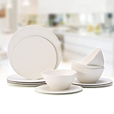 Bamboo 12Pcs Dinnerware Plate and Bowl Set - Hware Ourdoor Use Plate Set,Beige