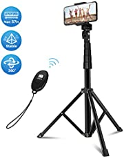 """Mpow Selfie Stick & Tripod, Professional All-in-One Extends to 57"""" Stable Travel Video Tripod Stand with Bluetooth Remote, Compatible with iPhone 11 11 Pro Max Xs X 6 7 8 Galaxy S20 S10 GoPro Camera"""